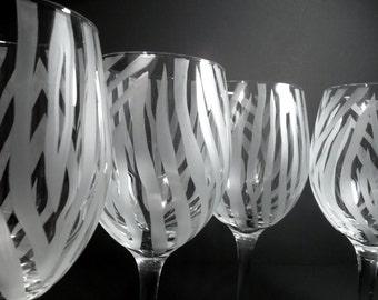 Wine glasses etched with zebra print. Set of 4. Zebra home decor, custom wine glasses.