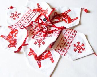 RED DALA HORSE bunting.  Scandinavian dala horse fabric bunting.Hand painted.Christmas Dala bunting.