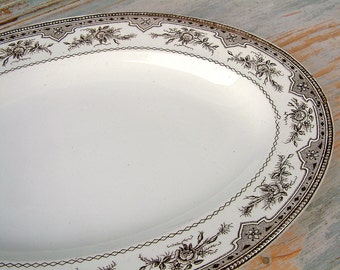 Antique french ONNAING brown transferware oval serving platter. Rose garlands. Antique ironstone serving platter. Shabby chic