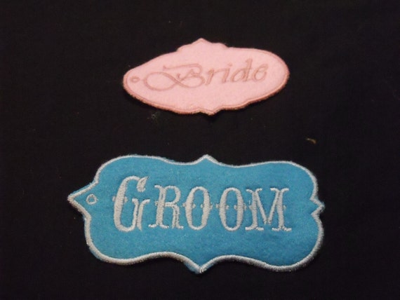 Bride and groom tags embroidered bride and groom name tags like this item sciox Images