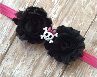 SALE Hot Pink & Black Shabby Chic Skull Crossbones Headband, Baby Headband, Toddler Headband, Girls Headband, Hair Bow, Baby Girl