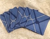 Nautical Knotted Netting Fabric Drink Coasters in Design of Shades of Blue and White 4 x 4 inches