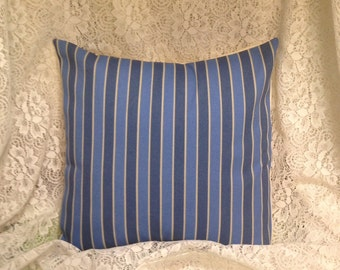 Pillow Covers in Stripes of Blues and Beige 14 x 14