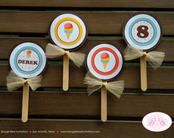 Ice Cream Birthday Party Cupcake Toppers Retro Soda Shop Girl Boy 1st 2nd 3rd 4th 5th 6th 7th 8th 9th Boogie Bear Invitations Dabney Theme