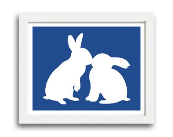 Rabbits Kiss Print - Rabbit Silhouette