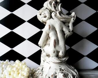 vintage chalkware, cherub candle holder, white candle holder, chalkware candle holder, vintage angel