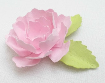 50 Light Pink Paper Peonies - Made With Plantable Paper Embedded With Flower Seeds - Eco Friendly - Plant and Grow