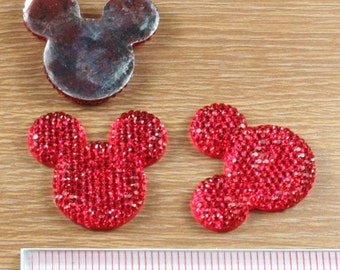 2/3/5 pc Red Glitter Minnie Mouse Head Resin Flat back Cabochon Hair Bow Center