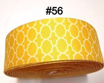 """3 or 5 yard - 1.5"""" Yellow White Quatrefoil Grosgrain Ribbon Hair bow"""