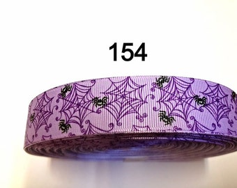 "2 yard - 1""  Halloween Purple Spider and Spider Web Grosgrain Ribbon Hair bow"