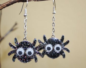 """Spider earrings dangle from your ears ! Halloween or a """"Little Miss Muffet"""" gift glittery spiders"""