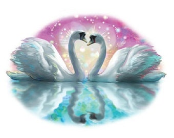 Glitter Swan Exotic Bird T SHIRT, Sweatshirt, Quilt Fabric Block  Item no. 781