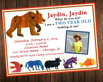 Brown Bear Brown Bear What Do You See  Birthday Invitation / Eric Carle Invite / DIY Printable Digital
