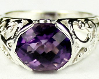 SR360, Amethyst, East-West 925 Sterling Silver Ring