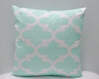 Fynn Twill Mint Throw Pillow Cover PillowCase / Sham/ Toss Pillowcase/Lumbar/ Kidney Pillowcase/Colors include white and mint green
