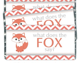 Printable Candy Wrappers, What Does the Fox Say Custom Candy wrappers - fit over chocolate bars - CUSTOM design for you, YOU PRINT