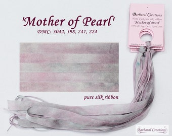 Hand dyed 13 mm wide pure silk ribbon, soie de ruban - 'Mother of Pearl'