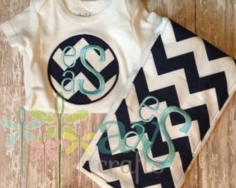Baby Boy's Navy Chevron and Aqua Bodysuit and Burp Cloth Set, Baby Gift