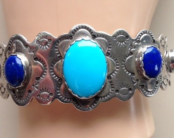 Native American Sleeping Beauty Turquoise and Lapis Lazuli Custom Made Sterling Silver Bracelet - Vernon Tracy Signed