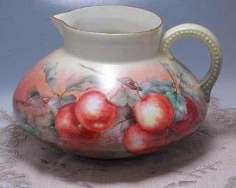 Lovely Antique Victorian JP L Jean Pouyat Limoges Limoge France porcelain hand painted apples fruit cider pitcher jug