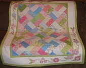 "Confetti 47"" x 56 1/2"" Throw, Lap Quilt, Floral, Pink, Blue, Green, Applique, Spring, Scrappy, Handmade, Patchwork, Graduation, Birthday"