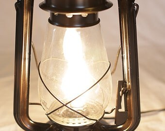 """Old fashioned electrified kerosene 12"""" lantern for your side or end table"""