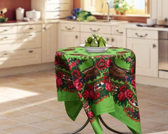 "Cotton tablecloth, 57""x57"", Ukrainian/Russian scarf floral ornaments, Square tablecloth, kitchen tablecloth, Green floral tablecloth"