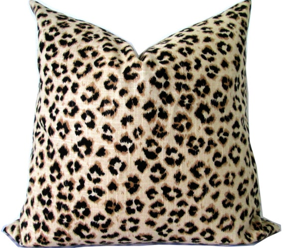 Leopard Designer Pillow Cover-TanBrownBlack Animal