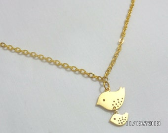 Double dangle gold bird pendant necklace,cute small sprrow bird pendant,Mom and Baby Bird pendant silver or gold