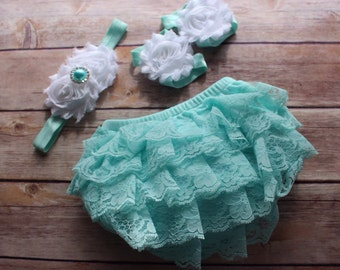 3 pc SET- aqua/ white - Baby Girl Bloomer - Lace Baby Bloomer / headband / barefoot sandals