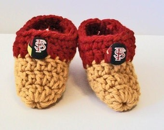 Adorable Hand Crocheted Baby Bootie Shoe Garnet and Gold Florida State Seminoles Inspired Great Photo Prop Matching Hat & Bib Also