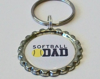 Unique Softball Dad Metal Flattened Bottlecap Keychain Great Gift
