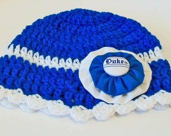 Blue Devils Duke Inspired Blue and White Hand Crocheted Baby and Childrens Scalloped Edge Hat Great Photo Prop 5 Sizes Available