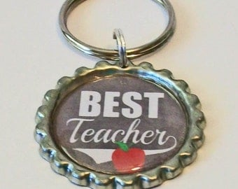 Grey and White Chalkboard Style Best Teacher Flattened Bottlecap Keychain Great Gift