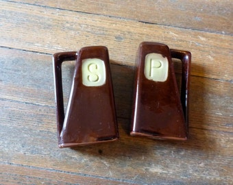 Extra-Large Brown Ceramic Salt and Pepper Shakers