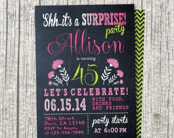 30th Birthday Party Invitation. Woman in 30th - 40th - 50th - 60th - 70th  / DIY / Chalkboard  Invitation