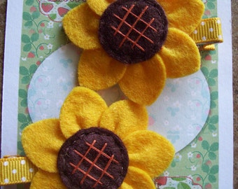 Beautiful Hand-Sewn Sunflower Felt Hair Clips