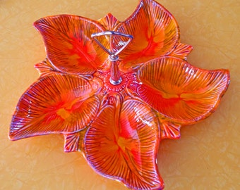 """Beautiful Early 70s Orange """"Maurice/Calif USA"""" Vintage Divided Serving Dish Snack Tray"""
