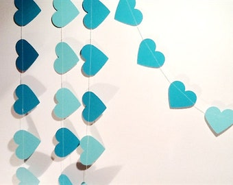 Paper Heart Garland. Sea Foam Green. Wedding - Engagement - Home Decor - Table Decoration.