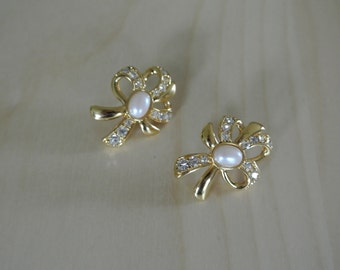 Monet Earrings/Gold tone Ribbon Bow Earrings/Faux Pearl and Rhinestone Crystals