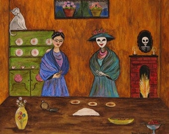 Making the Enchilada's.  Print from an original Dona Silver Painting. Frida. Catrina. Day of the dead print. Food print. Encilada print.