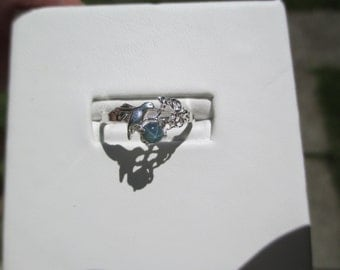 Ladies hummingbird star sapphire sterling silver ring