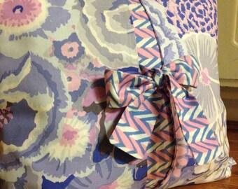 Bow Cushion Cover, Lavender/Pale Blue/Cream, Pink Floral Print