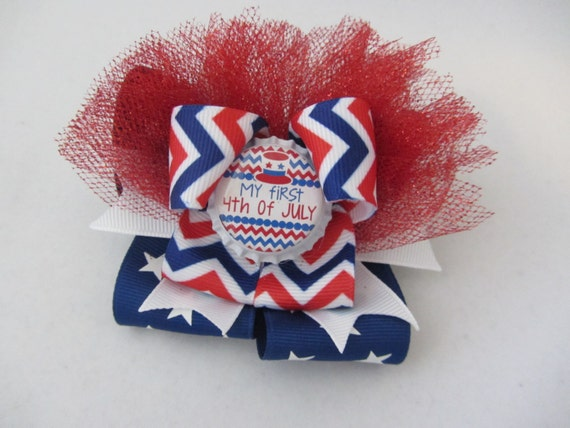 My First 4th of July bottle cap bow for baby girls/ 1st 4th of July bow/ 4th of July baby shower gift/ 4th of July newborn gift