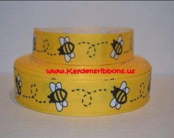 3 yards Yellow Bumble Bee - 7/8 inch - Printed Grosgrain Ribbon
