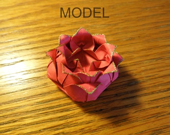 Small Rose Hair Clip with Gold Tips