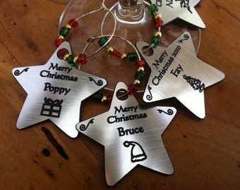 christmas wine charms personalised engraved tags gifts