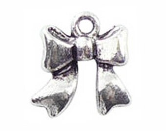 14 Silver Bow Charm 18x17mm by TIJC SP0201