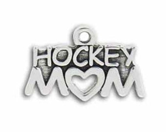 5 Silver Hockey Mom Charm Sports Pendant 14x22mm by TIJC SP0467