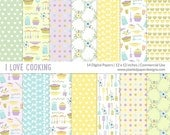 "Kitchen Digital Paper  ""COOKING DIGITAL PAPER""  Digital paper for scrapbooking, cardmaking. Commercial License for Small Business."